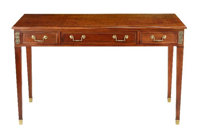 Dark wood farmhouse desk in delicate modern style.