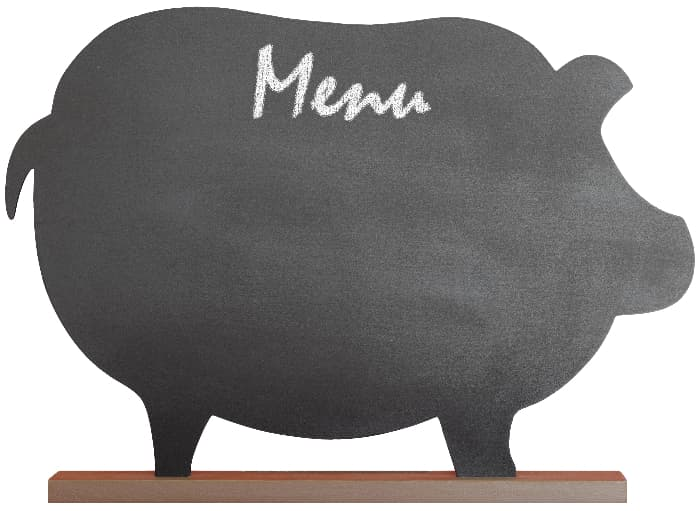 A chalkboard farmhouse kitchen sign in the shape of a pig.