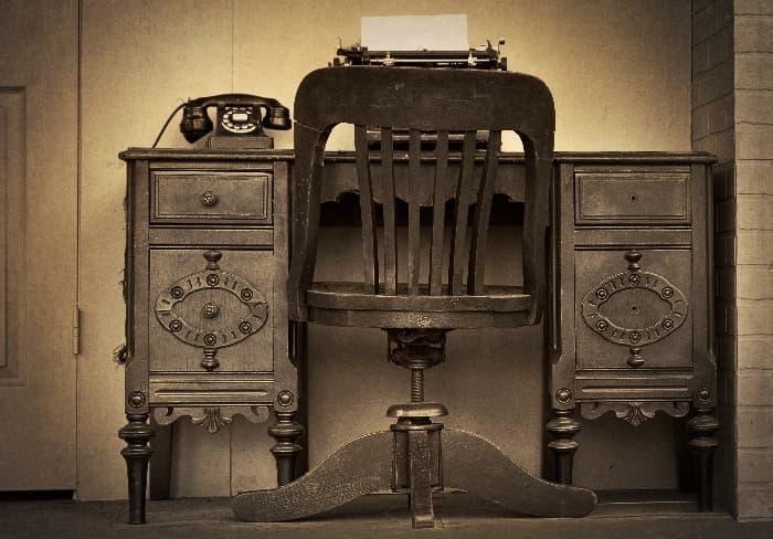 Monochrome Antique farmhouse desk.