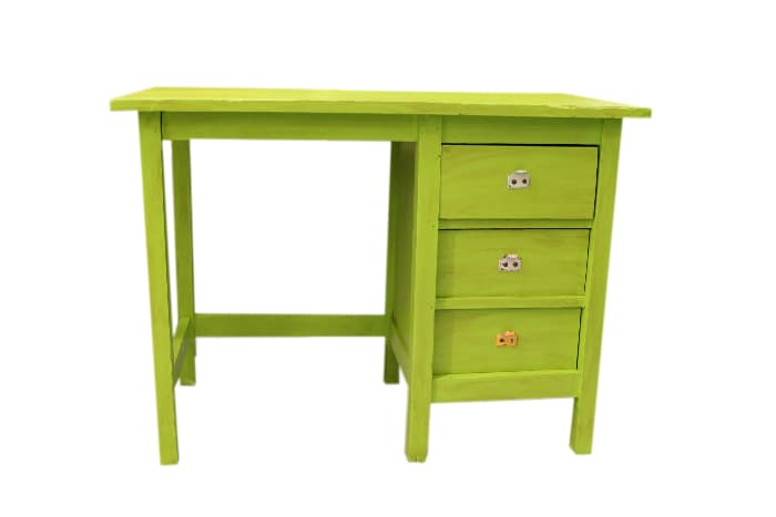 New Desk With Old Look -- green painted modern-style farmhouse desk.