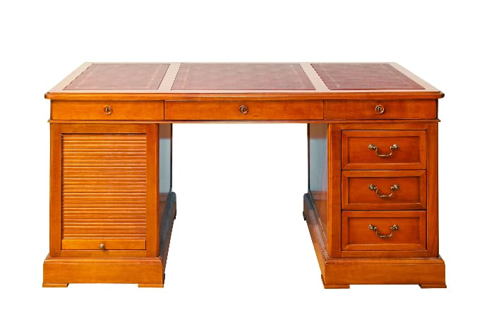 Farmhouse desk with a roll up drawer.