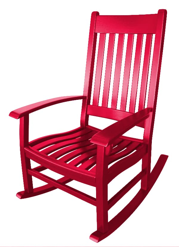 A rocking chair painted bright red -- a perfect painted chair idea for a Santa Chair.