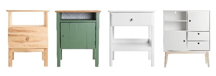 Four end or side tables painted in solid colors.