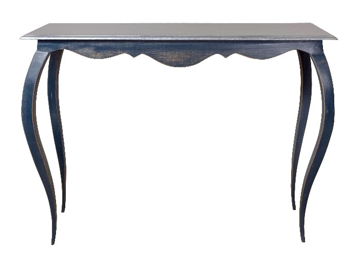A curved painted table in a soft gray color.