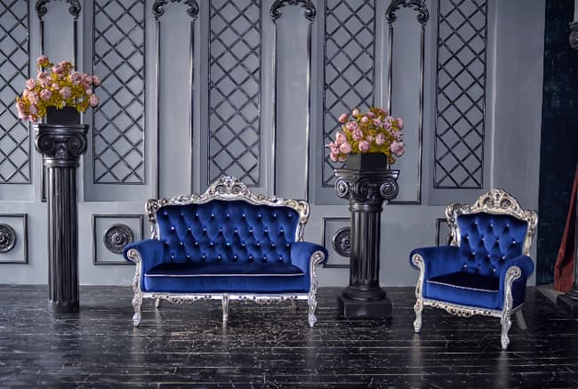 Couch and chair in Royal Blue fabric.