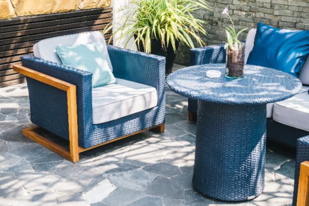 Royal Blue colored patio furniture.