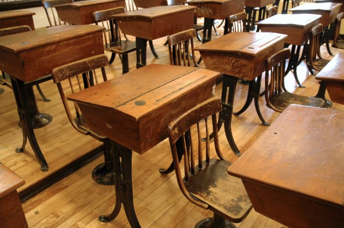 Room of schoolhouse desks.