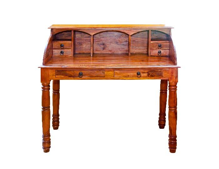 Medium wood-stain farmhouse desk with hutch.