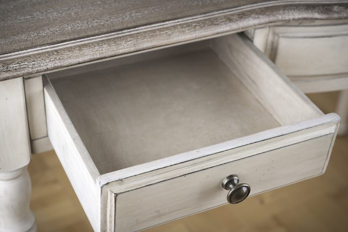 Wooden drawer of vintage writing table. Let's learn how to make wood drawers slide easier!