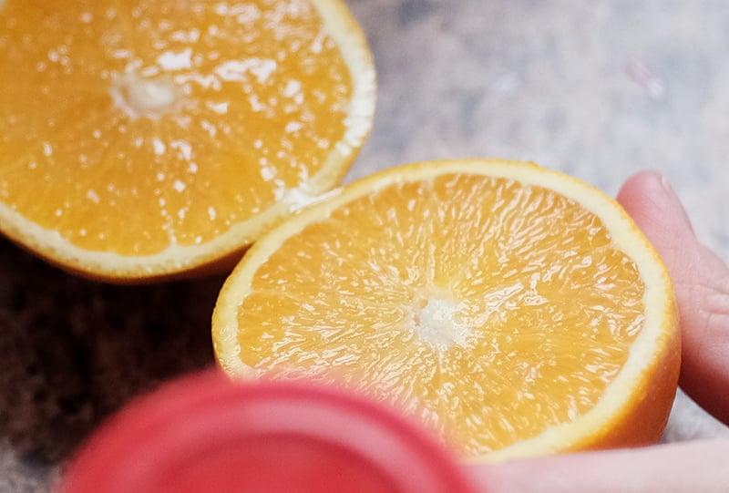 Two orange halves.