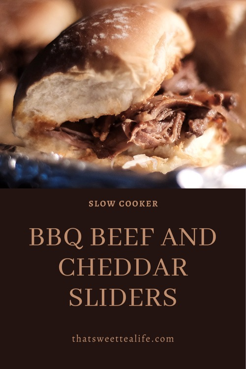 Pinterest image of BBQ Beef and Cheddar Sliders.