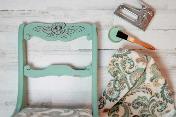 vintage chair makeover using  behr chalk paint and new fabric