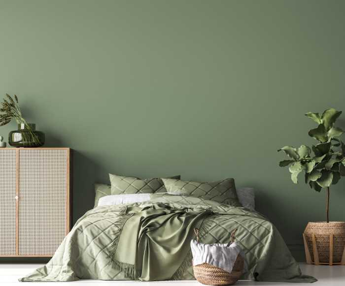 moss green inspired boho style bedroom