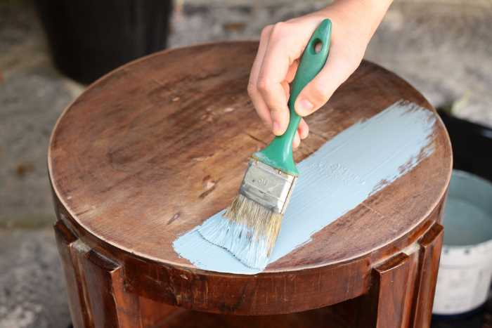 painting a table with chalk paint