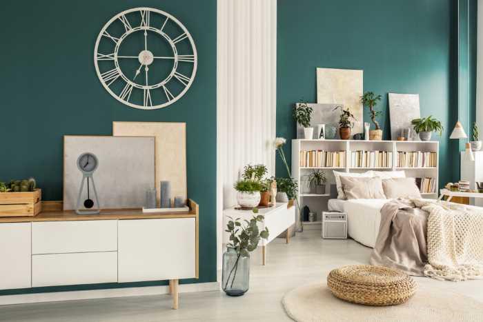 Boho Room painted phthalo green