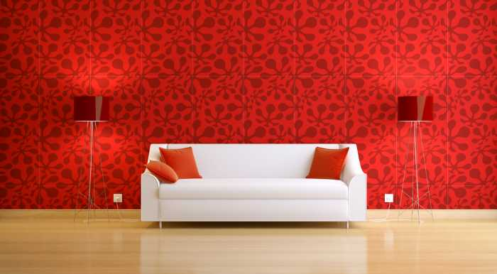 modern red wallpaper with minimalist décor.
