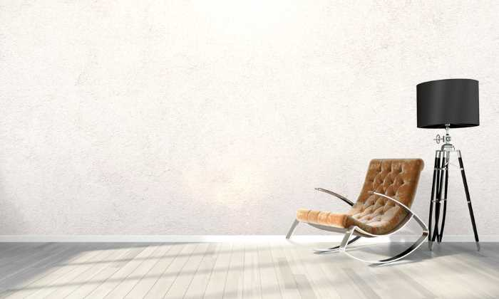 3D rendering of a room with white textured walls