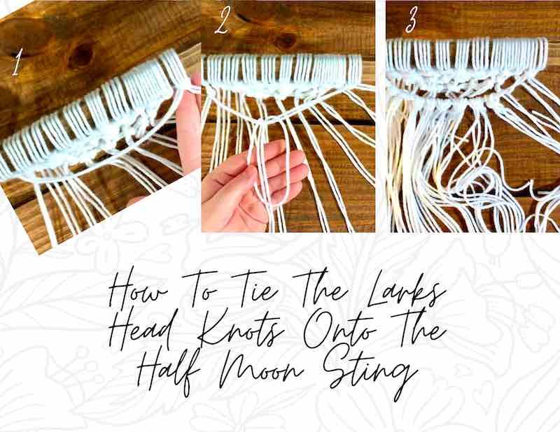 How to Tie larks head knots onto the half-moon strand.
