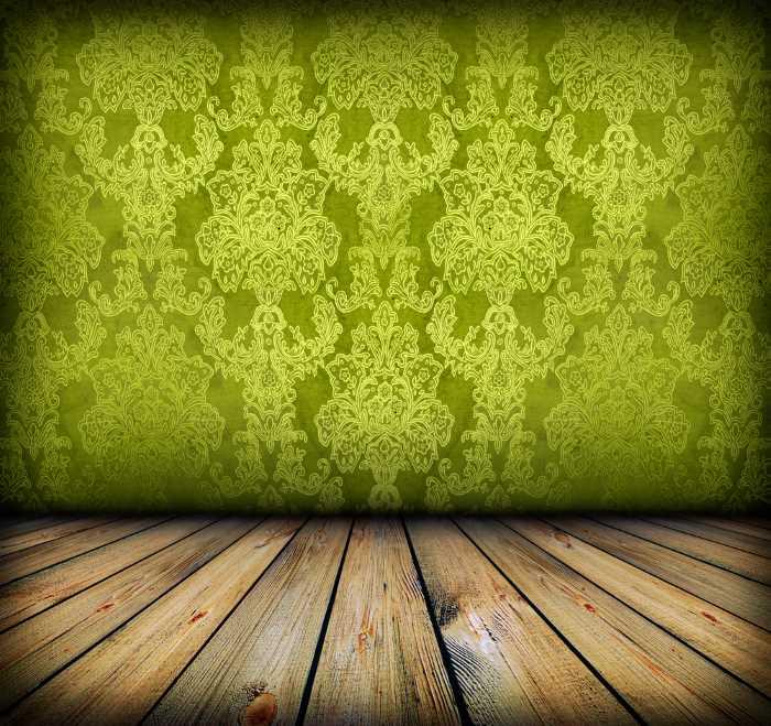 green damask wallpaper
