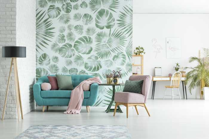 Palm leaf wallpaper in a room