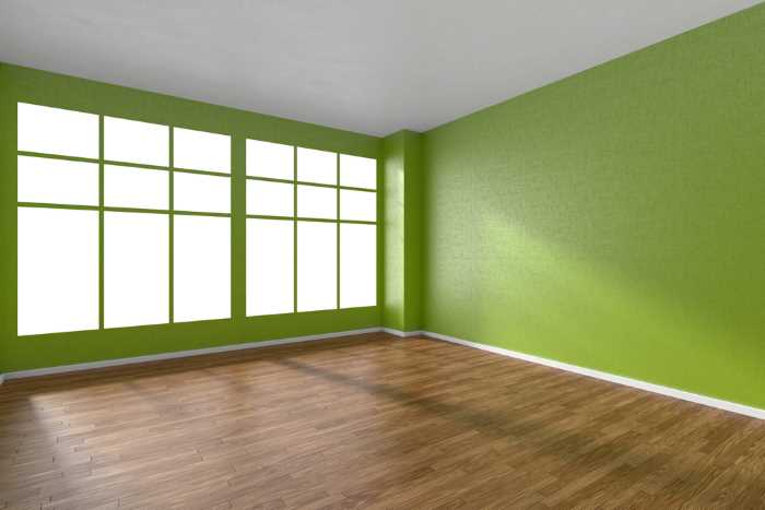 lime green wallpaper in an empty room