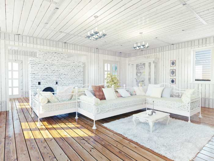 room with white wood panel ceiling to illustrate the affect this white wallpaper would create.
